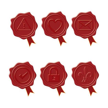 sealing: Six sealing wax stamp designs.