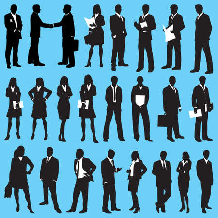 Business people isolated silhouette