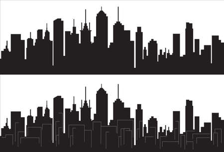 Panorama of city silhouette isolated on white
