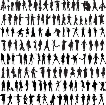 Gewöhnliches Leuteschattenbild getrennt auf Weiß