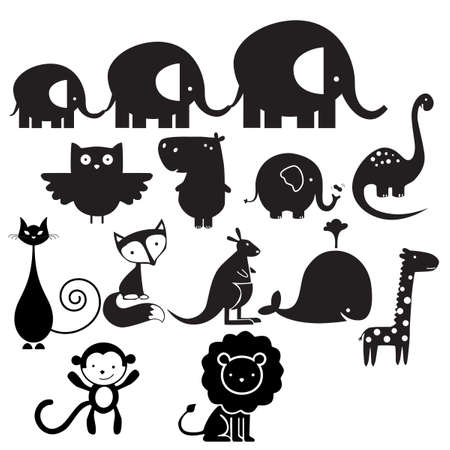 biggest animal: collection of different animal isolated on white Illustration