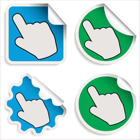Hand Cursor Stickers isolated on white