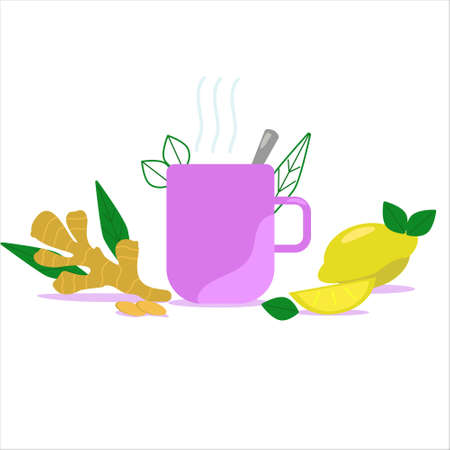 Cup of ginger tea with lemon isolated on white background. Vector illustration.  イラスト・ベクター素材
