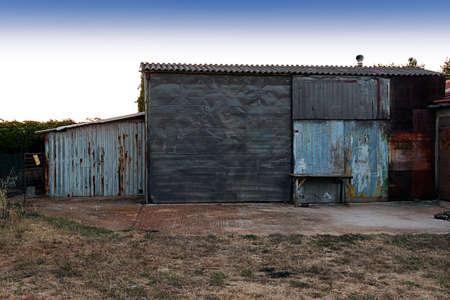 upkeep: An old makeshift barn on a farm in Croatia Stock Photo