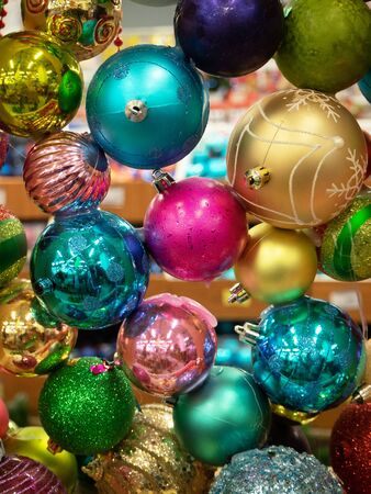 Christmas arrangement of colorful balloons are suspended and bonded to each other. The concept of new year and Christmas Stock Photo