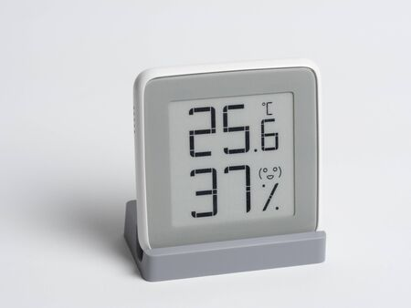 Digital device for determining the humidity and temperature in the room. A wireless device with an LCD screen showing the degrees Celsius and percent humidity.