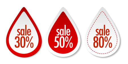 Sale on red stickers Vector