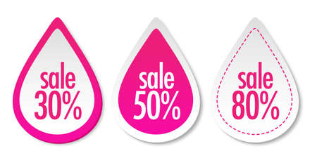 Sale on pink stickers Vector