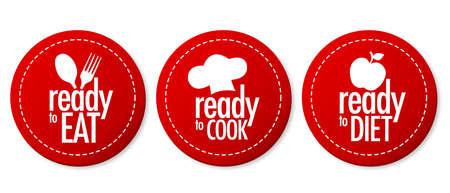 Prêts à manger, régime alimentaire et cuire ensemble autocollants