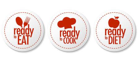 Listo para comer, dieta y cocinar el conjunto de etiquetas