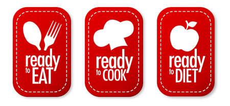 Pronti a mangiare, dieta e cucinare set di adesivi Vettoriali