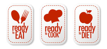 Ready to eat, diet and cook stickers set Stock Vector - 9934926