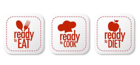 Listo para comer, dieta y cocinar el conjunto de etiquetas Ilustración de vector