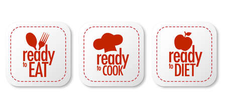 Ready to eat, diet and cook stickers set Vector