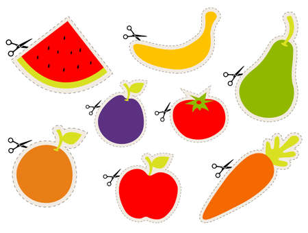 Fruit stickers with scissors Illustration
