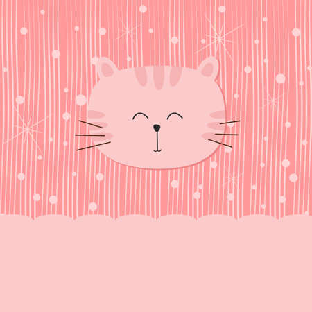 Cute cat on pink background Vector