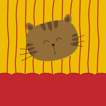 Cute cat on yellow and red background Vector