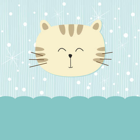 Cute cat on blue background Stock Vector - 10017250