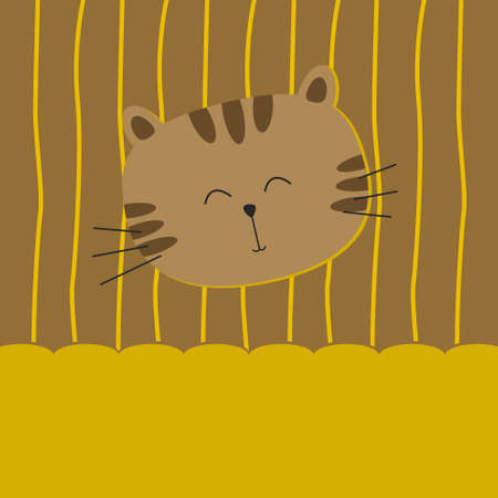 Cute cat on yellow background Stock Vector - 10017251