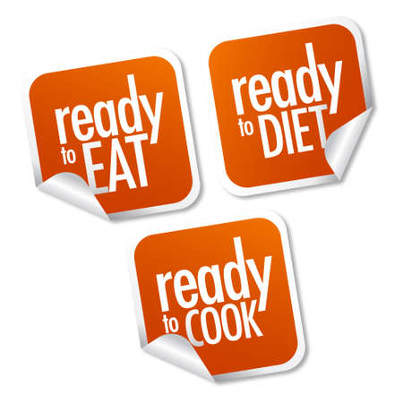Ready to eat, diet and cook stickers set Stock Vector - 10017266