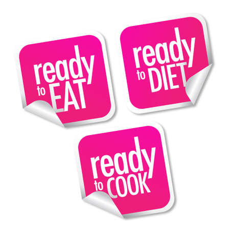 Ready to eat, diet and cook stickers set Stock Vector - 10017267