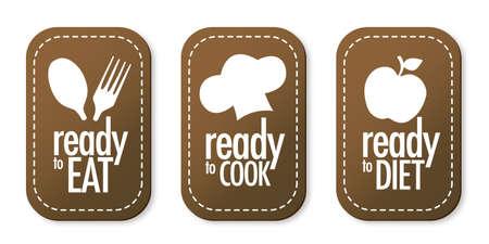 Listo para comer, dieta y cocinar pegatinas conjunto Ilustración de vector