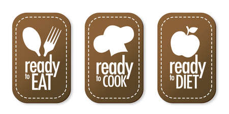 bakery products: Ready to eat, diet and cook stickers set