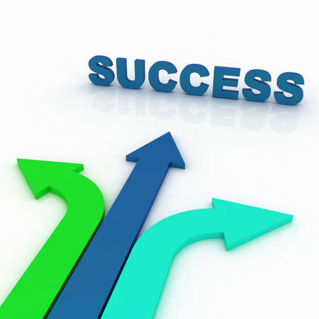 Arrows in three directions with success
