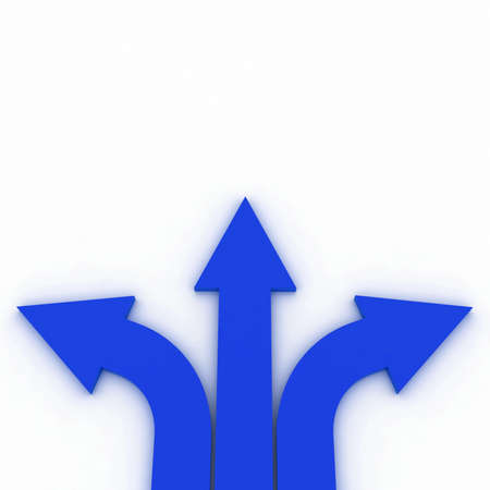 group direction: Arrows in three directions Stock Photo