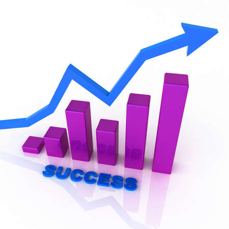 Business graph with success
