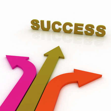 Arrows in three direction with success photo