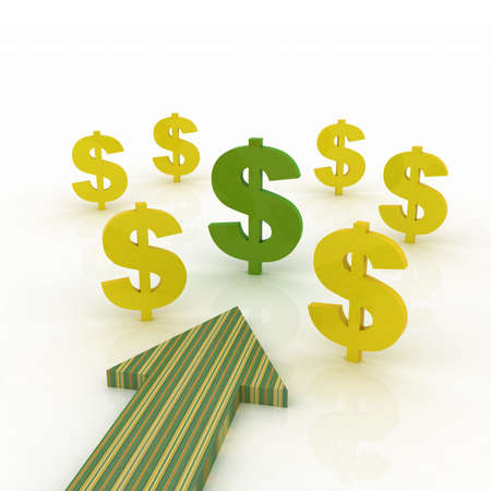 dollar signs: Arrow direction with dollar signs Stock Photo