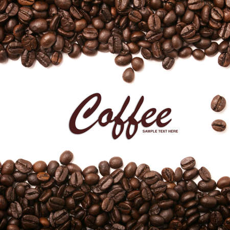 Coffee beans stripes isolated on white background