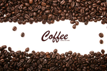expresso: Coffee beans stripes isolated on white background, with copyspace