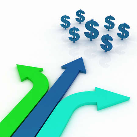 Arrows in three directions with dollar sign photo