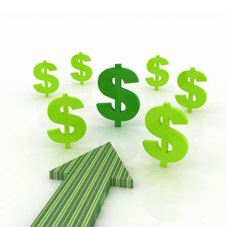 Richting van de pijl met dollarteken Stockfoto