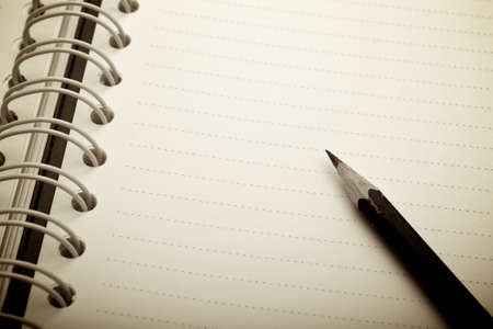 Empty notebook with pencil for your text Stock Photo