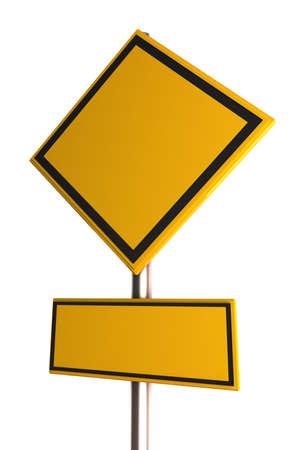 Empty yellow road sign  photo