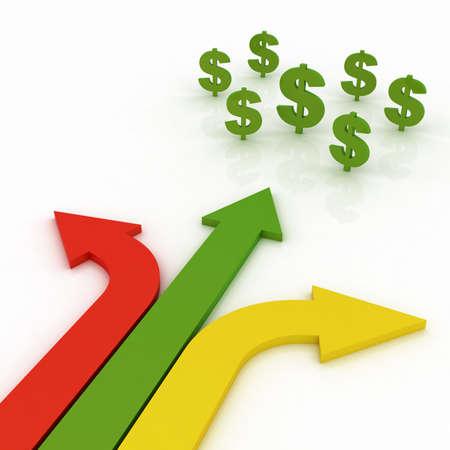 signos de pesos: Flechas en tres direcciones con signos de dólar