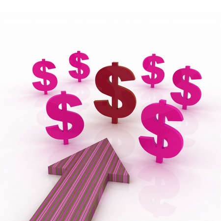 Arrow direction with dollar signs Stock Photo