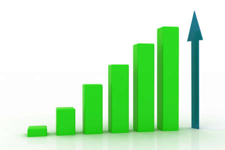 bar charts: 3D growing business graph