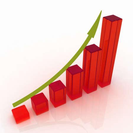height chart: 3D growing business graph