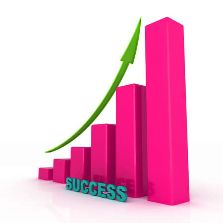 3D growing business graph with success Stock Photo