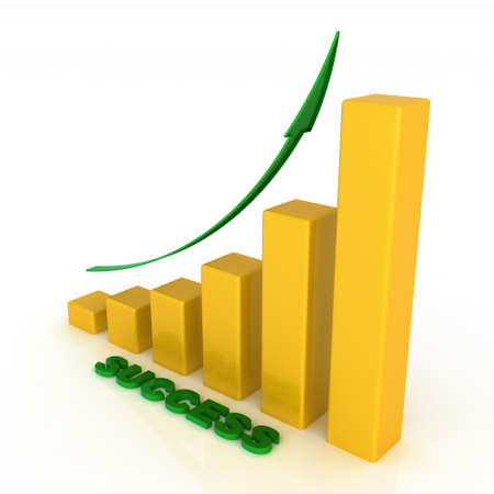 3D growing business graph with success photo