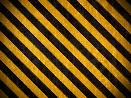 diagonal: Traditional black and yellow warning background with grunge effect