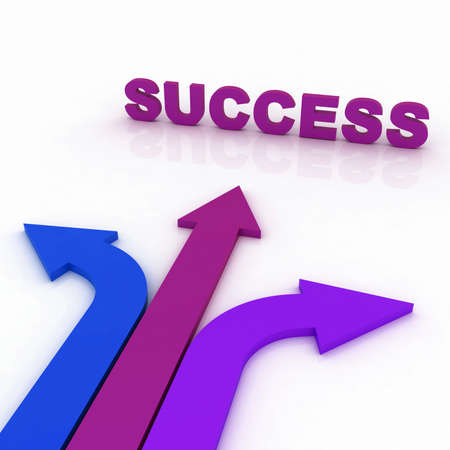 Arrows in three directions with success photo