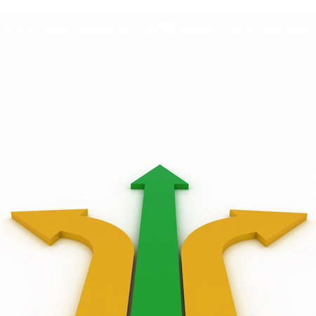 Arrows in three directions Stock Photo
