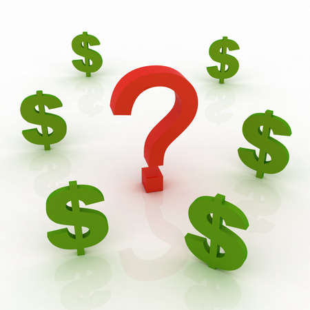 Question mark and dollars sign photo