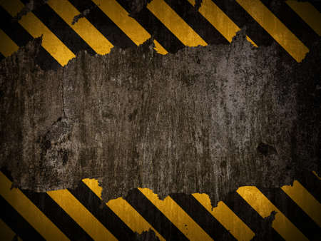 dangerous construction: Traditional black and yellow warning background Stock Photo