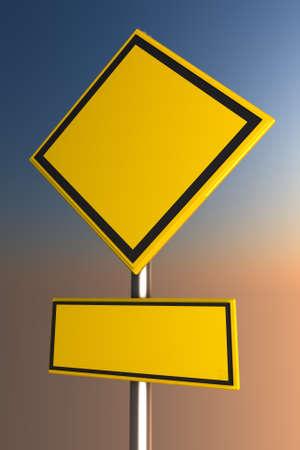 trip hazard sign: Yellow road sign  Stock Photo